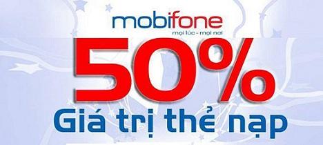 mobiphone khuyến mãi 50% thẻ nạp