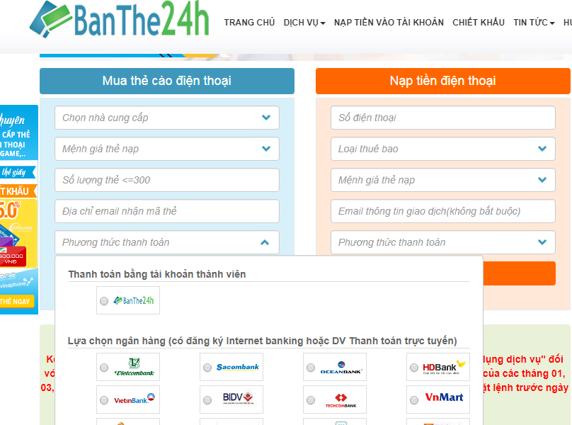 Hướng dẫn cách mua thẻ cào qua internet banking Vietcombank