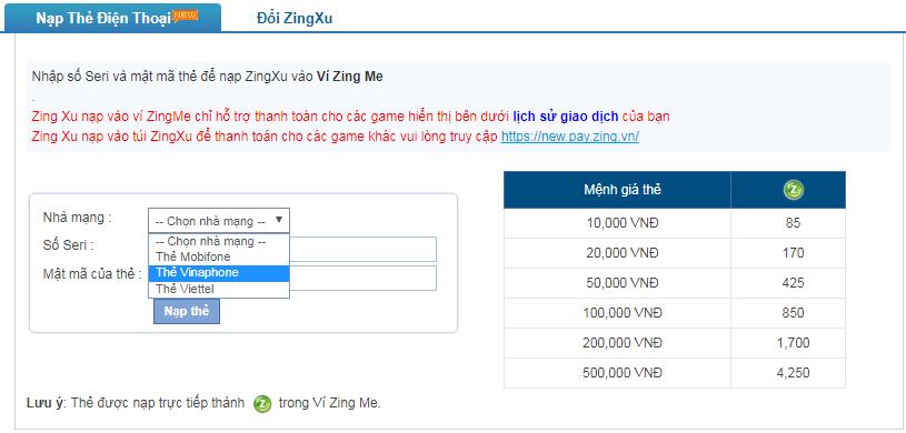 Nạp Zing Xu bằng thẻ vinaphone trên Ví Zing