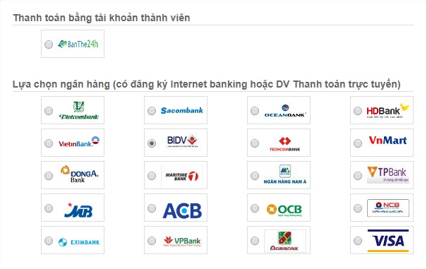 Các ngân hàng tham gia thanh toán trực tuyến
