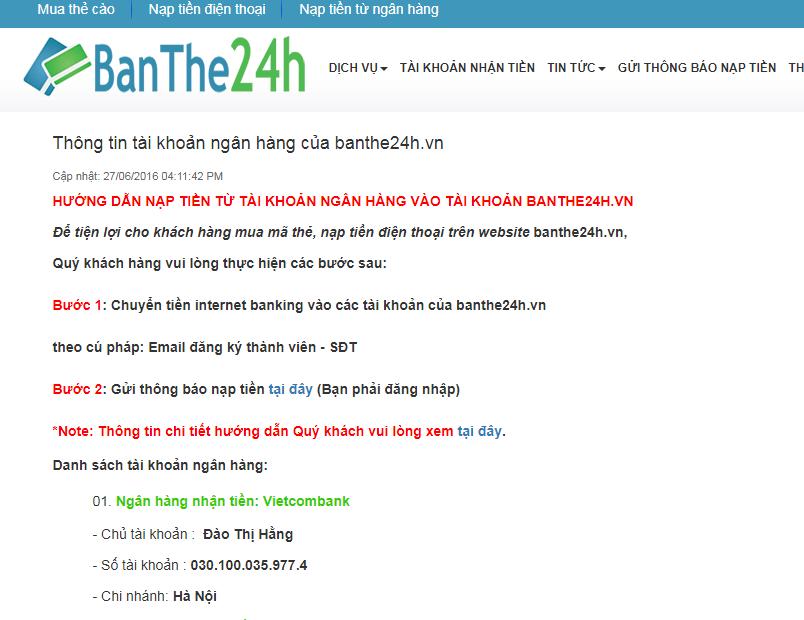 Cách chuyển tiền tại hệ thống Banthe24h.vn