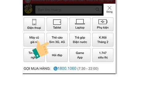Hướng dẫn cách mua thẻ cào online trên thegioididong