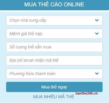 Dịch vụ mua card online tại Banthe24h