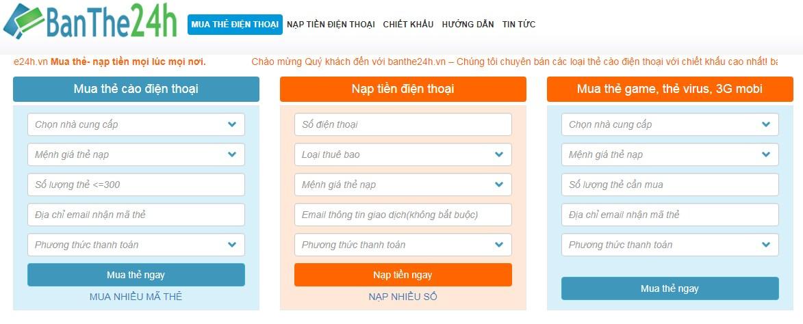 Nạp thẻ điện thoại qua ATM BIDV