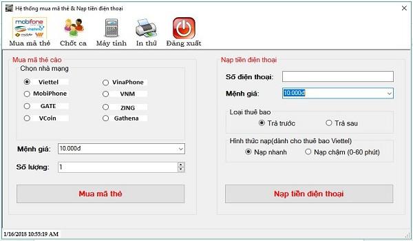 Giao diện phần mềm in mã thẻ, nạp tiền điện thoại Banthe24h