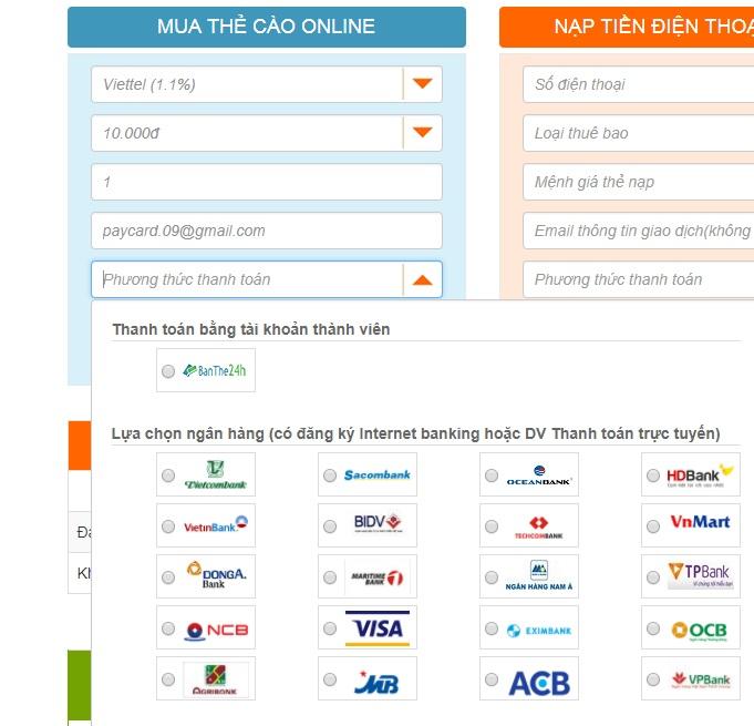 Hướng dẫn mua mã thẻ mạng Viettel 10k