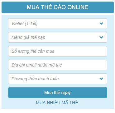 Hướng dẫn mua card Viettel online tại Banthe24h