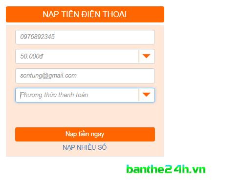 Hướng dẫn nạp tiền điện thoại tại Banthe24h.vn