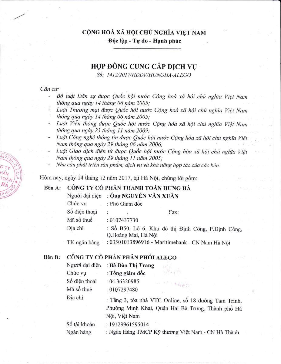 Mẫu hợp đồng đại lý tại Banthe24h.vn