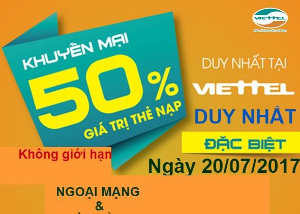 Khuyến mãi nạp thẻ Viettel ngày 20/07/2017
