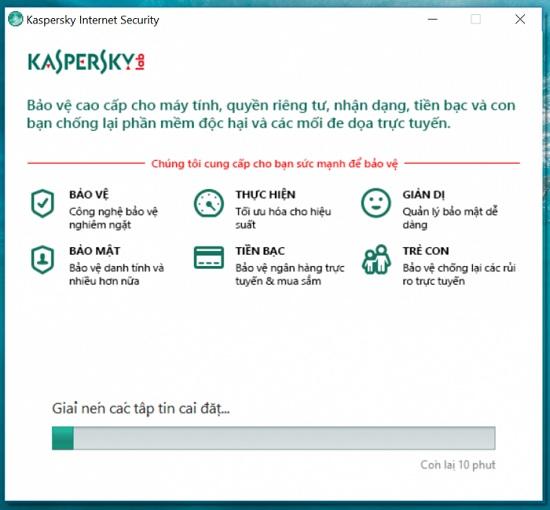 Tiếp tục để kích hoạt key kaspersky