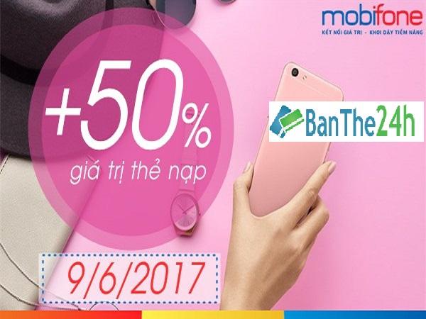 Mobifone khuyến mãi tặng 50 giá trị thẻ nạp ngày 9/6/2017