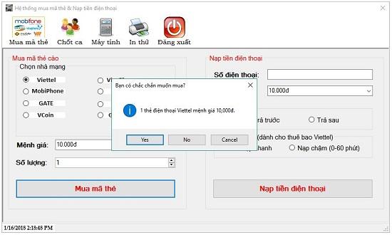 Mua in mã thẻ cào online bằng phần mềm Banthe24h