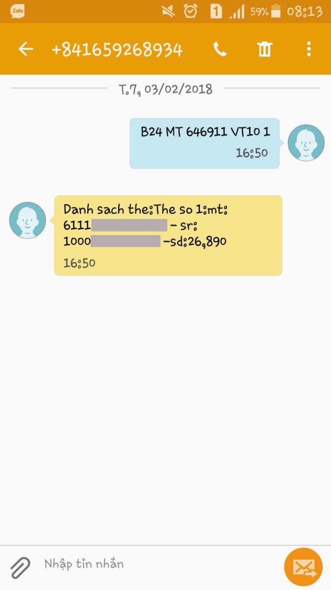 Mua mã thẻ điện thoại Viettel online bằng sms
