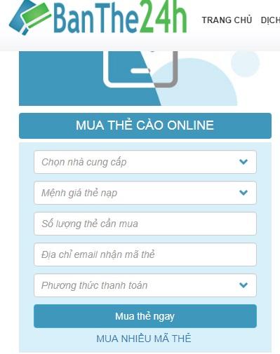 Mua card cho điện thoại Vina online