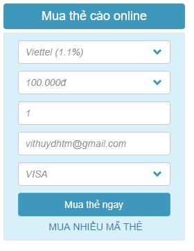 Mua card cho điện thoại bằng Visa nhanh