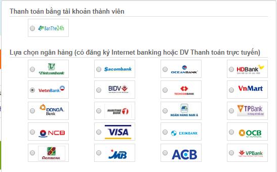 Cách mua card bằng thẻ ATM Vietinbank