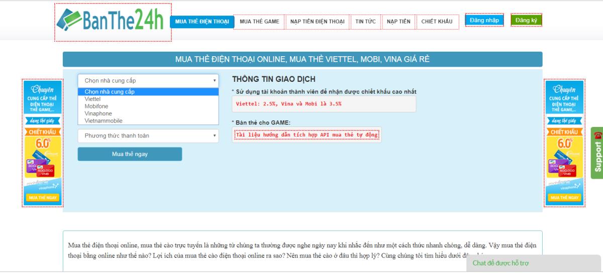 mua thẻ điện thoại qua internet banking tại Banthe24h.vn