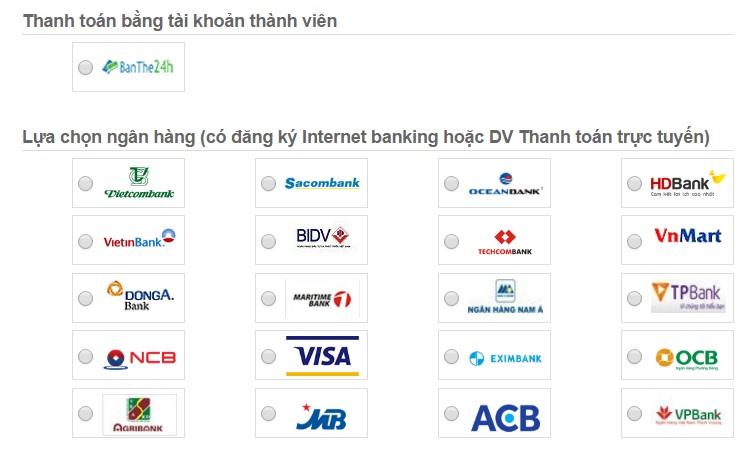 Các ngân hàng liên kết dịch vụ mua thẻ điện thoại online bằng ATM