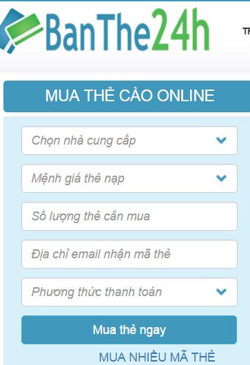 Mua thẻ điện thoại qua thẻ atm Vietcombank