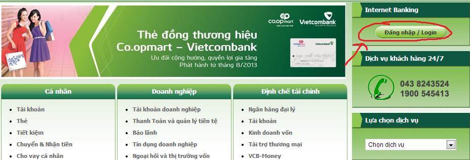 Đăng ký dịch vụ Internet Banking của VCB
