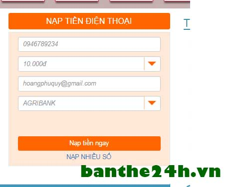 Dịch vụ nạp tiền điện thoại qua mạng Viettel, Mobifone, Vinaphone