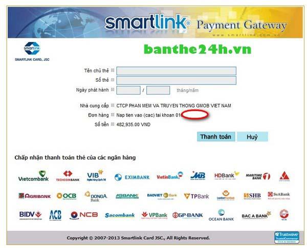 nap tien online qua banknet