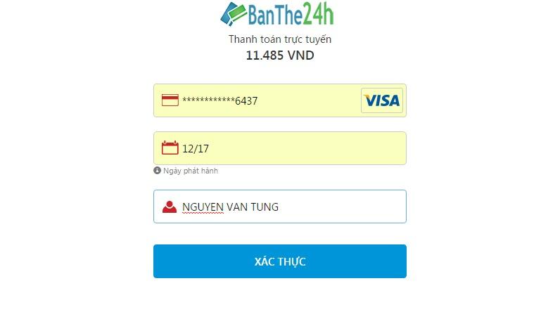 Thanh toán nạp tiền điện thoại qua Vietinbank