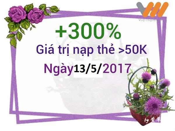 Vietnamobile khuyến mãi nạp thẻ ngày 13 và 14/5/2017
