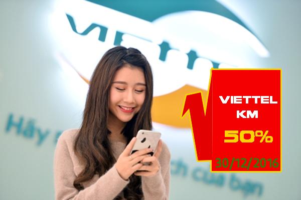 Viettel khuyến mãi 50 giá trị thẻ nạp