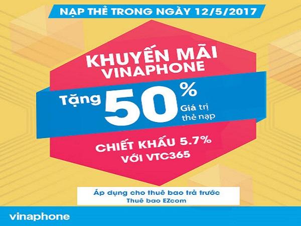 Vinaphone khuyến mãi 50 giá trị thẻ nạp ngày 12/5/2017
